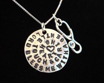 Nurse's Prayer Necklace, Nurse Necklace, Stethoscope Necklace, Nurse graduation gift, Nurse gift, Student Nurse gift, Nursing Student