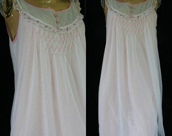 Vintage Pale Pink Movie Star 60s 1960s Babydoll Lingerie Nightgown Double Nylon Chiffon Smocked