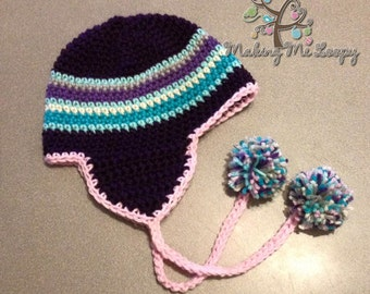 Crocheted Cotton Striped Earflap Hat