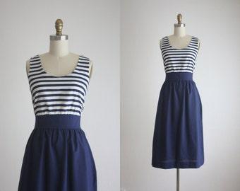 1960s navy stripe dress