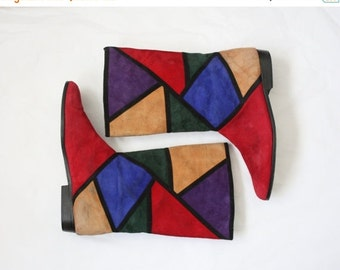 30% OFF SALE stained glass boots / suede italian colorblock boots / size 7 1/2