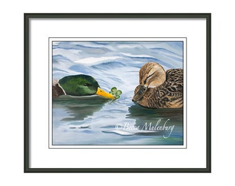 bird ducks art PRINT mallard ducks water love wildlife nature four leaf clover lucky