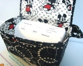 """Large 4"""" Size Coupon Organizer  Budget Organizer Holder Box  Attaches to Your Shopping Cart  Black with Batik White Dot Circles Mickey Lined"""