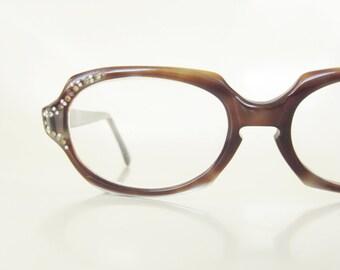 1950s Tortoiseshell Rhinestone Glasses Womens Eyeglasses Pearl Rhinestones Blue Brown 50s Retro Mid Century Modern Classic Geek Chic
