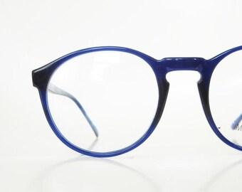 ON SALE 1980s Round Eyeglasses Oversized Womens Mens Unisex Glasses P3 Keyhole Bridge Indie 80s Hipster Chic Cobalt Blue Sea Light Navy Geek