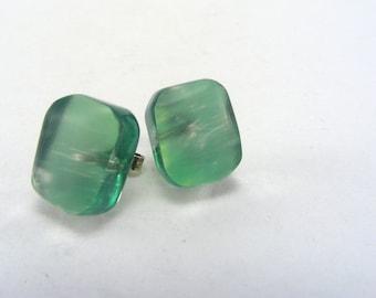 Lime Green post earrings, Plexi Glass studs