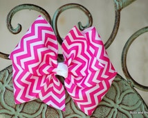 Hot Pink and White Chevron Ponytail Holder - 4 inch - Sport Bow - Boutique Bow - Elastic - Pony-o - Large Pony hair tie  - Chevron Stripe