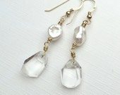 Rock Crystal White Keishi Pearls Gold Earrings
