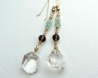 Aquamarine Rock Crystal Smoky Quartz Gold Earrings