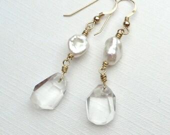 Rock Crystal White Keishi Pearls Gold Earrings