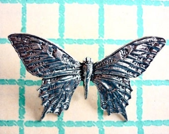Antiqued Pewter Tie Tack Pin Butterfly