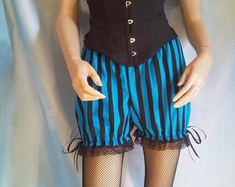 size uk 10 blue and black stripe bloomers
