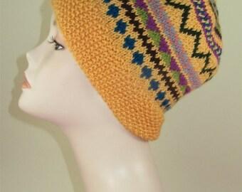 SALE Instant Digital File pdf download knitting pattern - Simple Fairisle Slouch pdf download knitting pattern