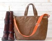 Waxed canvas tote, Carry all Nappy bag Diaper bag, Messenger bag Work bag,Men messenger, Travel bag, Zipper