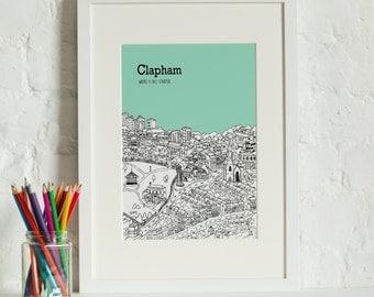 Personalised Clapham Print | Unique Travel Art | Wedding Gift | Custom Anniversary Gift | Travel Gift | Wall Art | Clapham Engagement Gift