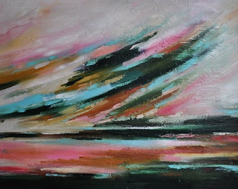 "Original Abstract Painting  Large Textured Oil Painting Autumn Sky Pink Brown Dark Green 32""x24"""