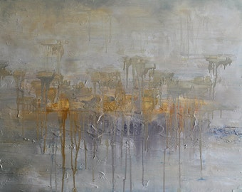 """Original Abstract Painting  Large Textured Oil Painting Neutral Yellow White Grey Winter Landscape 32""""x24"""""""