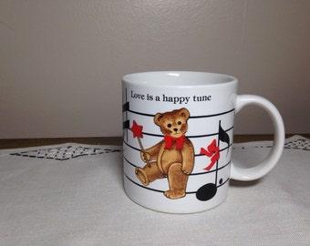 Vintage 80s Mug MUSICAL BEAR Love Is A Happy Tune Schmid Gordon Fraser Japan Valentine's Day