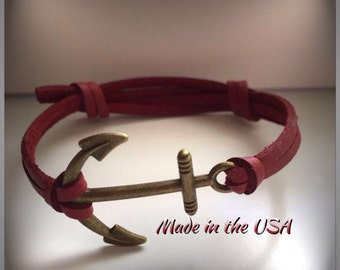 Nautical bracelet Leather anchor bracelet Nautical jewelry Charm bracelet Friendship bracelet Leather jewelry Sailor jewelry Inspirational