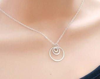 Triple Circle Necklace, Three Rings Necklace, 3 Eternity Circle Necklace, Sterling Silver