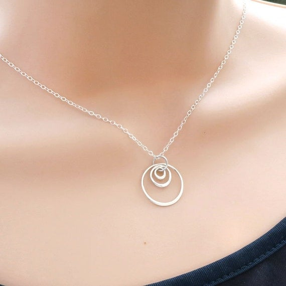 circle necklace three rings necklace eternity circle