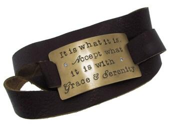 14K Gold Leather Wrap Bracelet Hand Stamped Phrase Custom Personalized Inspirational Jewelry Engraved Artisan Handmade Fine Designer Fashion