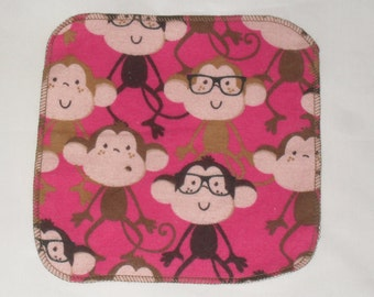 6 Monkey printed flannel wipes