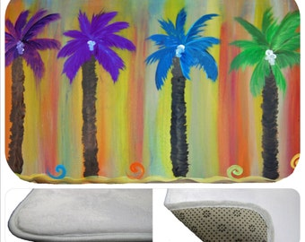 Colorful palms palm trees tropical beach  bathmat from my art