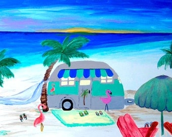 Air stream camper top sheet and matching pillow cases from my art