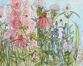 Botanical Flower Garden Landscape Dragonfly Illustration Nature Art