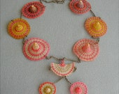 Vintage Straw Sombrero Chain Necklace