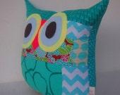 Sale 20%/Patchwork/blue/Aqua/zig zag /Owl pillow/Ready to ship (large size)