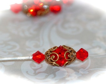 Victorian Red Swarovski Crystal Stickpins. Set of Three Pins