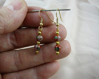 Red with pink flower 6 mm round Cloisonne two bead gold dangle earring pair EE-600-21