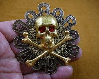 Large Pirate lover skull crossbones red eyes pin Jolly Roger Victorian repro BRASS pin pendant brooch B-Skull-56