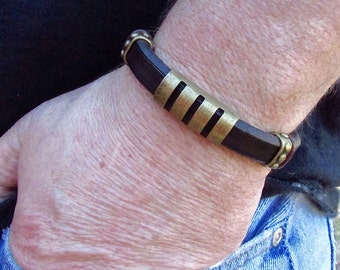 Bohemian Mens Leather Bracelet - Mens Boho Leather Bracelet - Mens Leather Bracelet - Harley Bracelet - Leather Bracelet - Brown Leather