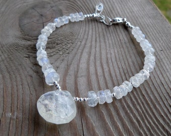 RESERVED for Lorrie High Quality Blue Flash Moonstone and Sterling Silver Gemstone Birthstone Bracelet