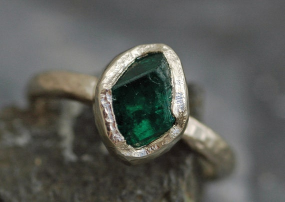 Raw Colombian Emerald on Recycled 14k or 18k Yellow, Rose, or White Gold Ring- Hammered Band- Made to Order