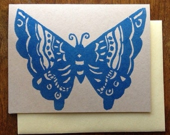 Tattoo Butterfly Block Print Card