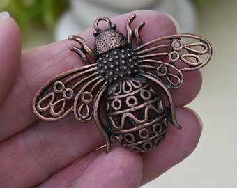 Antique Copper Bumblebee Pendant, Large Pendant for Scarves or Necklaces