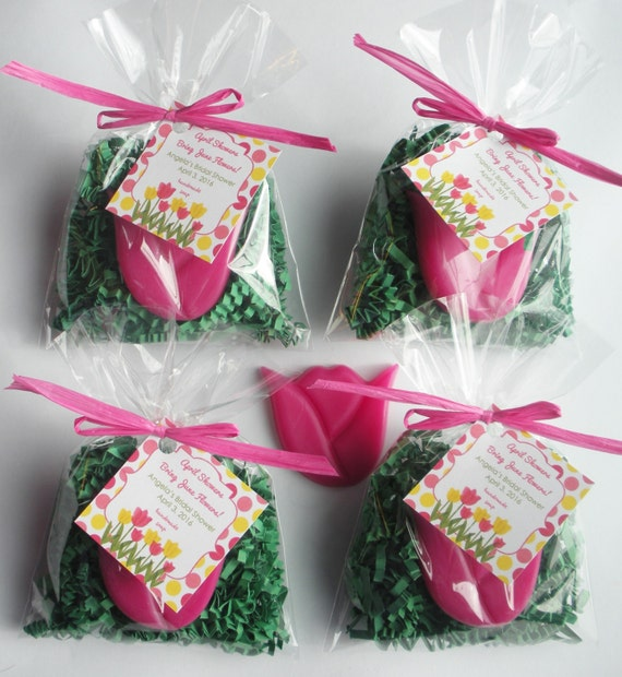 Baby in Bloom Tulip Bridal Luncheon Garden Party Garden Sprinkle Tea Party April Showers Handmade Soap (20 complete favors with tags)