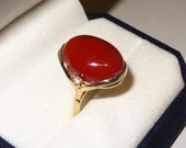 14k Gold Mediterranean Red Coral and Diamond Ring Size 6 1/2