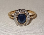 Victorian 18k Yellow and White Gold Sapphire and Diamond Ring Size 5