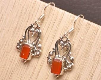 Sterling Silver and Carnelian Dangle Earrings