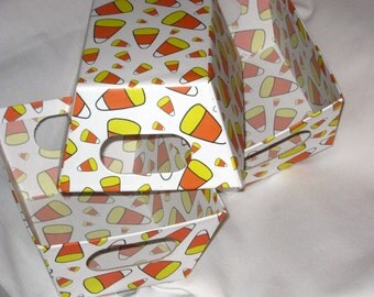 Set of 3 CANDY CORN CARDBOARD BoXES for Halloween Decorating, treats and more