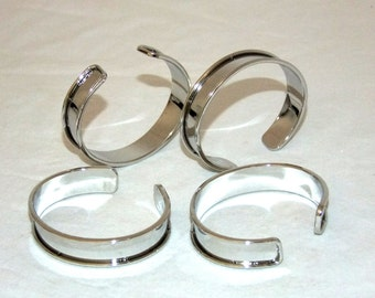 Bright Silver Plated Channeled Bracelet Cuff Blanks 1/2 Inch Package Of 12