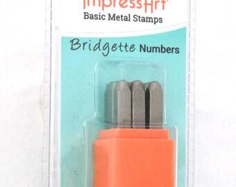 Basic Bridgette Number Metal Stamp Set 3mm  9pcs