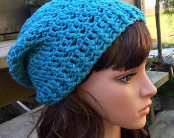 Blue Sparkle Crochet Slouchy Hat