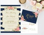 Printable Wedding Invitation Bundle // Stripe Floral Invite // Vintage wedding invitation // Nautical Wedding Invitation // DIGITAL