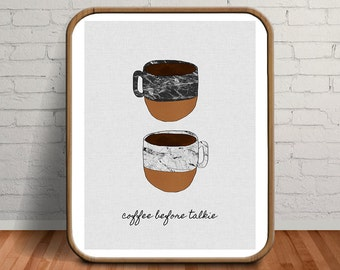 Coffee Print, Coffee Wall Art, Coffee Sign, Coffee Poster, Coffee Decor, Coffee Quotes, Coffee Art, Coffee, Cups, Copper Cup, Marble Decor
